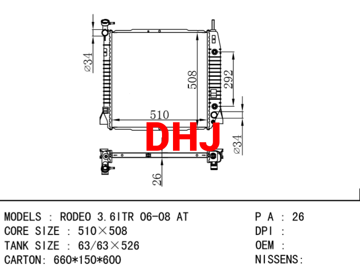 ISUZU RODEO 3.6ITR 06-08 AT/MT radiator